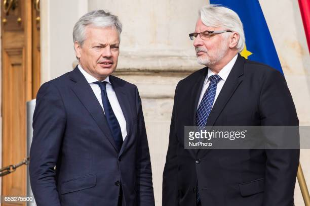 Minister of Foreign Affairs of Poland Witold Waszczykowski and Minister of Foreign Affairs of Belgium Didier Reynders in Warsaw Poland on 14 March...