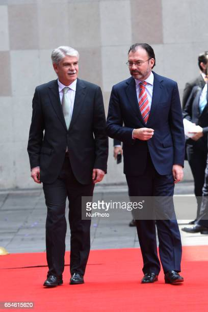 Minister of Foreign Affairs of Spain Alfonso Dastis Quecedo and Minister of Foreign Affairs of Mexico Luis Videgaray are seen arriving at building of...