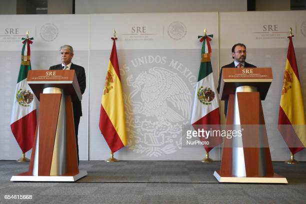 Minister of Foreign Affairs of Spain Alfonso Dastis Quecedo and Minister of Foreign Affairs of Spain of Mexico Luis Videgaray are seen during a press...