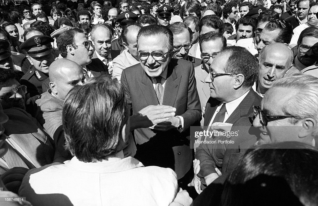 Minister of Foreign Affairs of the Italian Republic <a gi-track='captionPersonalityLinkClicked' href=/galleries/search?phrase=Giulio+Andreotti&family=editorial&specificpeople=221669 ng-click='$event.stopPropagation()'>Giulio Andreotti</a> attending the 7th National Friendship Day. Fiuggi, September 1983