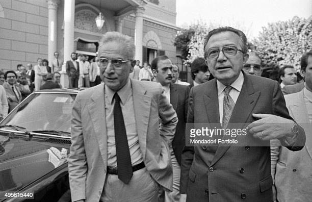 Minister of Foreign Affairs of the Italian Republic Giulio Andreotti and President of the Senate of the Italian Republic Francesco Cossiga attending...