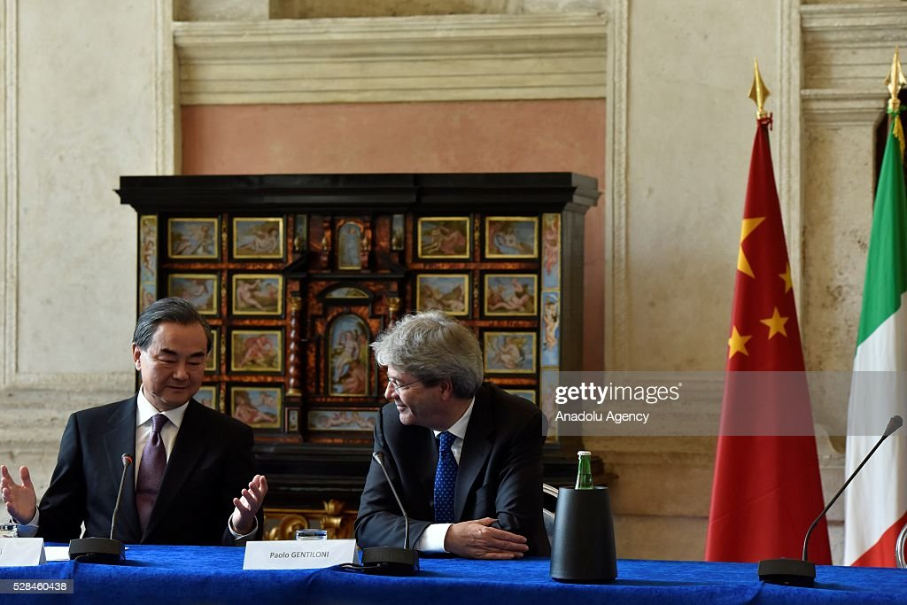 Minister of Foreign Affairs of the People's Republic of China Wang Yi (L) speaks during a press conference on the Seventh Meeting of the Italy-China Government Committee with Italian Minister of Foreign Affairs and International Cooperation Paolo Gentiloni (R) in Rome, Italy on May 5, 2016.