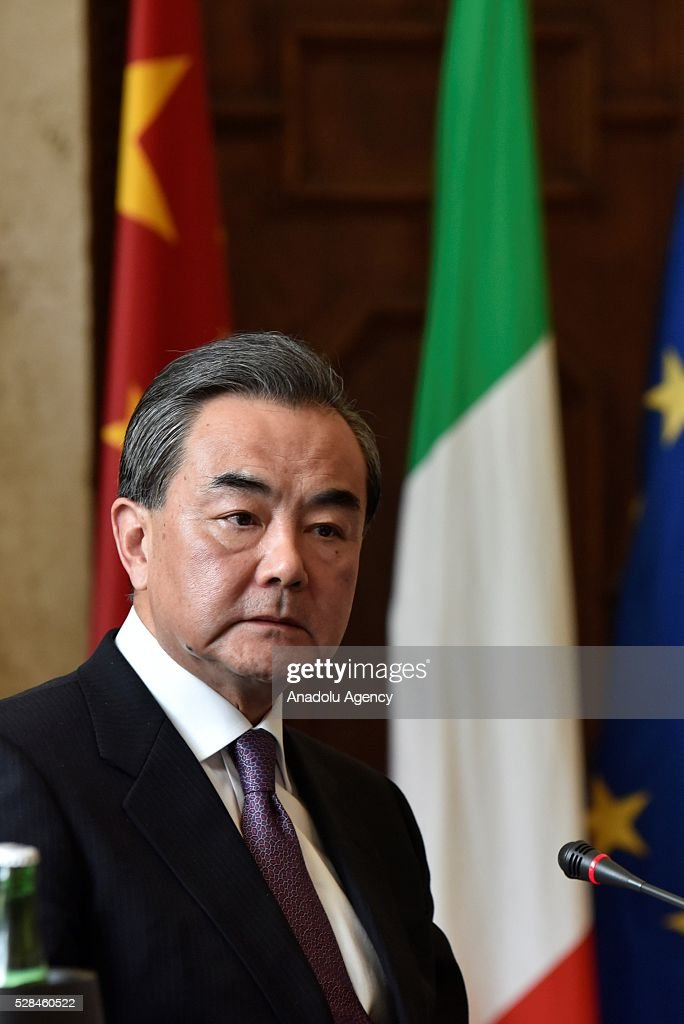 Minister of Foreign Affairs of the People's Republic of China, Wang Yi attends a joint press conference on the Seventh Meeting of the Italy-China Government Committee in Rome, Italy on May 5, 2016.
