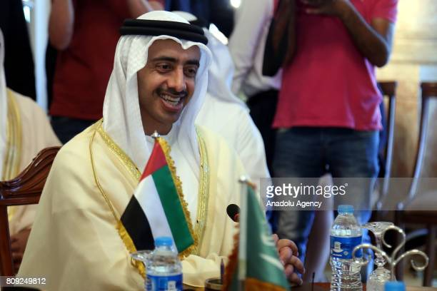Minister of Foreign Affairs of the United Arab Emirates Abdullah bin Zayed Al Nahyan gather to attends a meeting regarding Qatar crisis in Cairo...