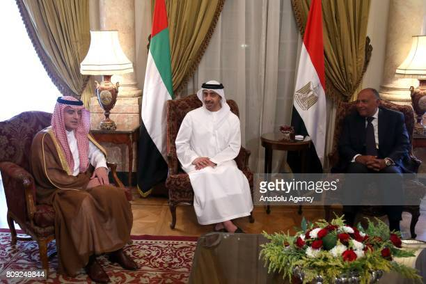 Minister of Foreign Affairs of the United Arab Emirates Abdullah bin Zayed Al Nahyan Saudi Arabian Foreign Minister Adel bin Ahmed AlJubeir and...