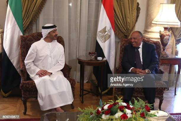 Minister of Foreign Affairs of the United Arab Emirates Abdullah bin Zayed Al Nahyan and Foreign Minister of Egypt Sameh Shoukry gather to attend a...