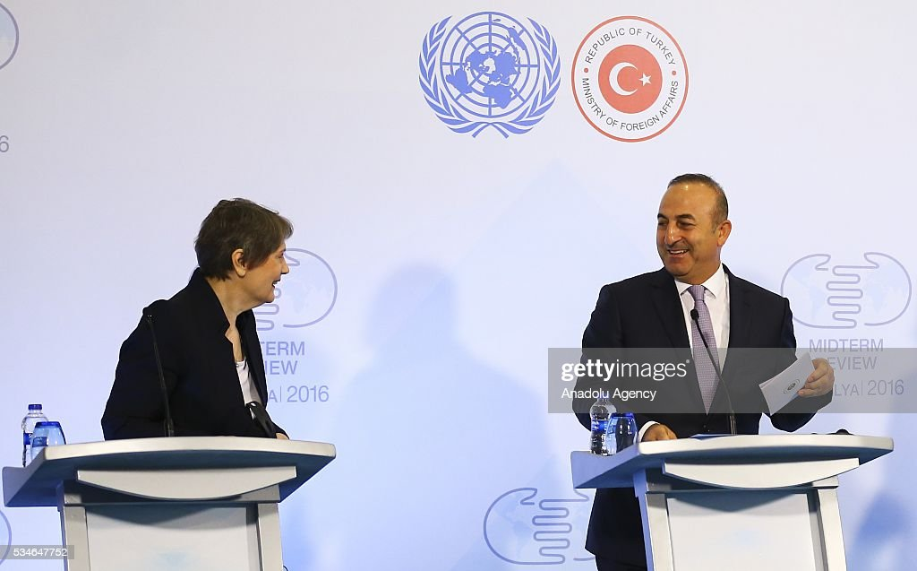 Minister of Foreign Affairs of Turkey, Mevlut Cavusoglu (R) , Administrator of the United Nations Development Programme (UNDP) Helen Clark (L) and Under-Secretary-General and High Representative for the LDCs Gyan Chandra Acharya (not seen) hold a press conference during the Midterm Review of the Istanbul Programme of Action in Antalya, Turkey on May 27, 2016. The Midterm Review conference for the Istanbul Programme of Action for the Least Developed Countries takes place in Antalya, Turkey from 27-29 May 2016. The conference will undertake a comprehensive review of the implementation of the Istanbul Programme of Action by the least developed countries (LDCs) and their development partners and likewise reaffirm the global commitment to address the special needs of the LDCs.