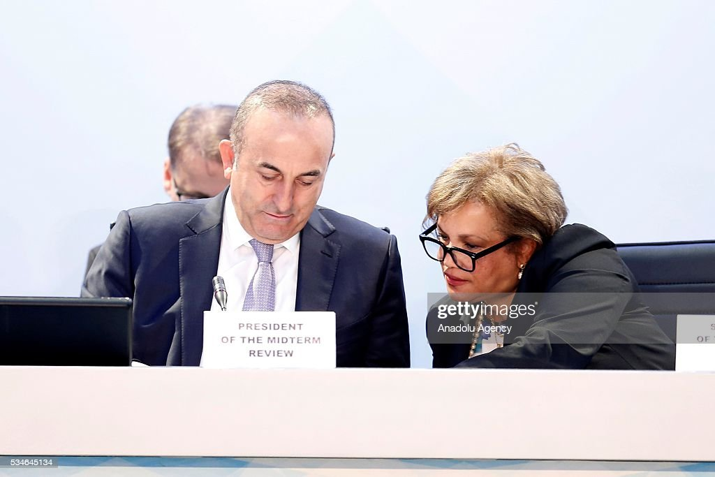 Minister of Foreign Affairs of Turkey, Mevlut Cavusoglu (L) and Assistant Secretary-General for General Assembly and Conference Management Catherine Pollard (R) attend the Midterm Review of the Istanbul Programme of Action at Titanic Hotel in Antalya, Turkey on May 27, 2016. The Midterm Review conference for the Istanbul Programme of Action for the Least Developed Countries takes place in Antalya, Turkey from 27-29 May 2016. The conference will undertake a comprehensive review of the implementation of the Istanbul Programme of Action by the least developed countries (LDCs) and their development partners and likewise reaffirm the global commitment to address the special needs of the LDCs.