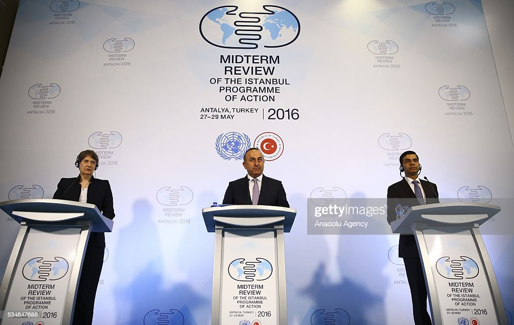 Minister of Foreign Affairs of Turkey, Mevlut Cavusoglu (C) , Under-Secretary-General and High Representative for the LDCs Gyan Chandra Acharya (R) and Administrator of the United Nations Development Programme (UNDP) Helen Clark (L) hold a press conference during the Midterm Review of the Istanbul Programme of Action in Antalya, Turkey on May 27, 2016. The Midterm Review conference for the Istanbul Programme of Action for the Least Developed Countries takes place in Antalya, Turkey from 27-29 May 2016. The conference will undertake a comprehensive review of the implementation of the Istanbul Programme of Action by the least developed countries (LDCs) and their development partners and likewise reaffirm the global commitment to address the special needs of the LDCs.