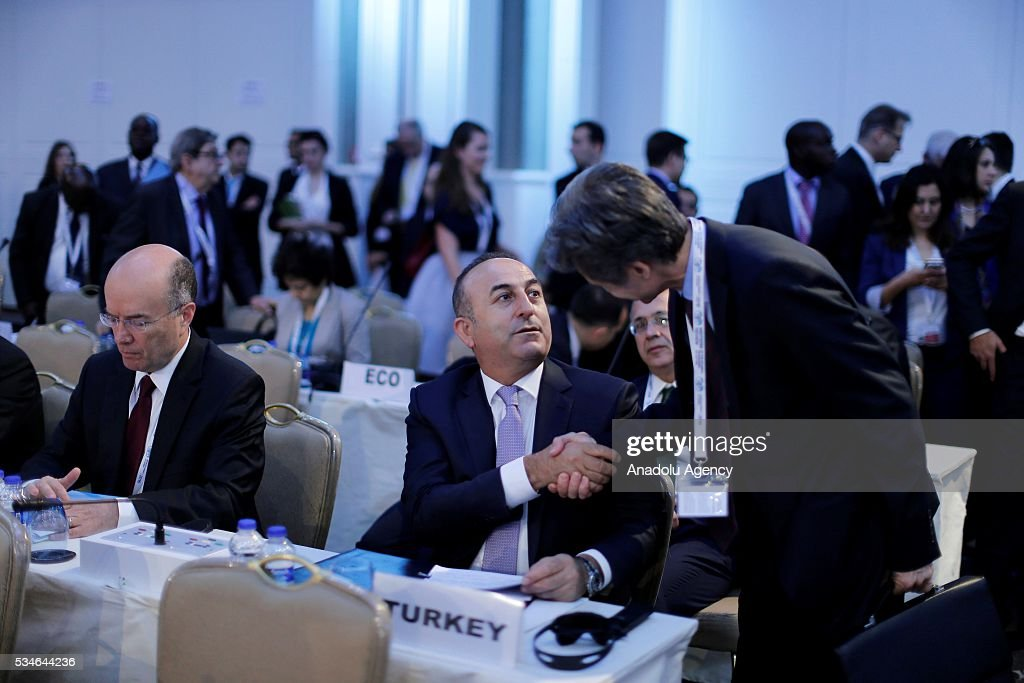 Minister of Foreign Affairs of Turkey, Mevlut Cavusoglu (2nd R) attends the Midterm Review of the Istanbul Programme of Action at Titanic Hotel in Antalya, Turkey on May 27, 2016. The Midterm Review conference for the Istanbul Programme of Action for the Least Developed Countries takes place in Antalya, Turkey from 27-29 May 2016. The conference will undertake a comprehensive review of the implementation of the Istanbul Programme of Action by the least developed countries (LDCs) and their development partners and likewise reaffirm the global commitment to address the special needs of the LDCs.