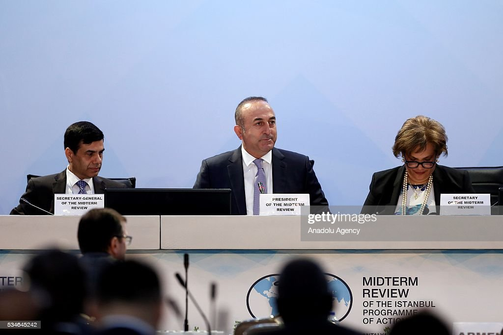 Minister of Foreign Affairs of Turkey, Mevlut Cavusoglu (C) attends the Midterm Review of the Istanbul Programme of Action at Titanic Hotel in Antalya, Turkey on May 27, 2016. The Midterm Review conference for the Istanbul Programme of Action for the Least Developed Countries takes place in Antalya, Turkey from 27-29 May 2016. The conference will undertake a comprehensive review of the implementation of the Istanbul Programme of Action by the least developed countries (LDCs) and their development partners and likewise reaffirm the global commitment to address the special needs of the LDCs.