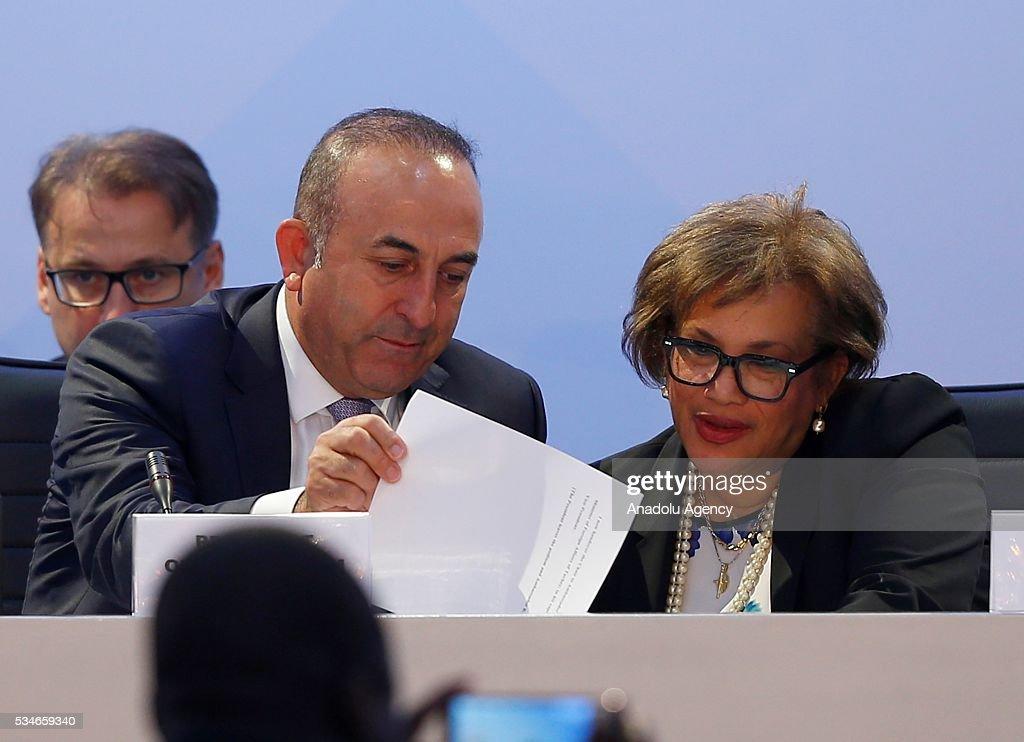 Minister of Foreign Affairs of Turkey, Mevlut Cavusoglu (L) attends the Midterm Review of the Istanbul Programme of Action at Titanic Hotel in Antalya, Turkey on May 27, 2016. The Midterm Review conference for the Istanbul Programme of Action for the Least Developed Countries takes place in Antalya, Turkey from 27-29 May 2016. The conference will undertake a comprehensive review of the implementation of the Istanbul Programme of Action by the least developed countries (LDCs) and their development partners and likewise reaffirm the global commitment to address the special needs of the LDCs.