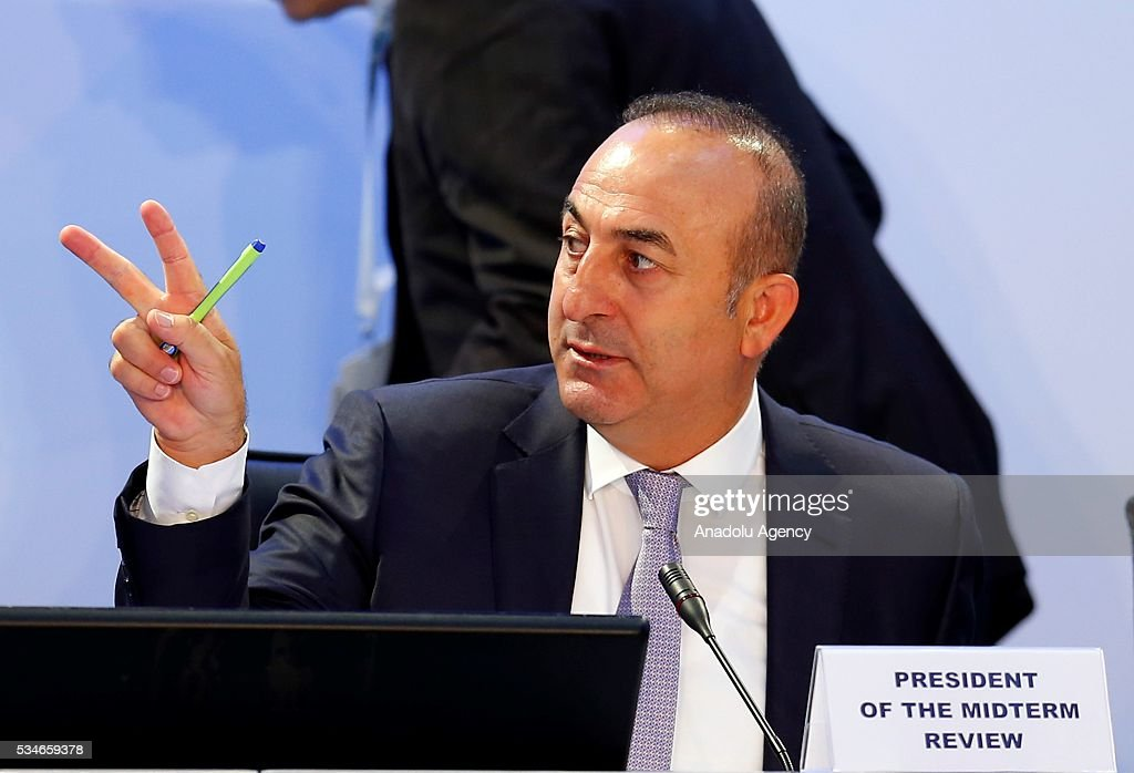 Minister of Foreign Affairs of Turkey, Mevlut Cavusoglu attends the Midterm Review of the Istanbul Programme of Action at Titanic Hotel in Antalya, Turkey on May 27, 2016. The Midterm Review conference for the Istanbul Programme of Action for the Least Developed Countries takes place in Antalya, Turkey from 27-29 May 2016. The conference will undertake a comprehensive review of the implementation of the Istanbul Programme of Action by the least developed countries (LDCs) and their development partners and likewise reaffirm the global commitment to address the special needs of the LDCs.