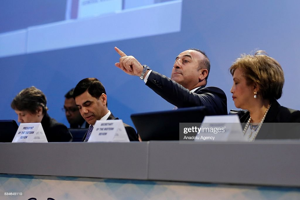 Minister of Foreign Affairs of Turkey, Mevlut Cavusoglu (2nd R) gives opening speech during the Midterm Review of the Istanbul Programme of Action at Titanic Hotel in Antalya, Turkey on May 27, 2016. The Midterm Review conference for the Istanbul Programme of Action for the Least Developed Countries takes place in Antalya, Turkey from 27-29 May 2016. The conference will undertake a comprehensive review of the implementation of the Istanbul Programme of Action by the least developed countries (LDCs) and their development partners and likewise reaffirm the global commitment to address the special needs of the LDCs.