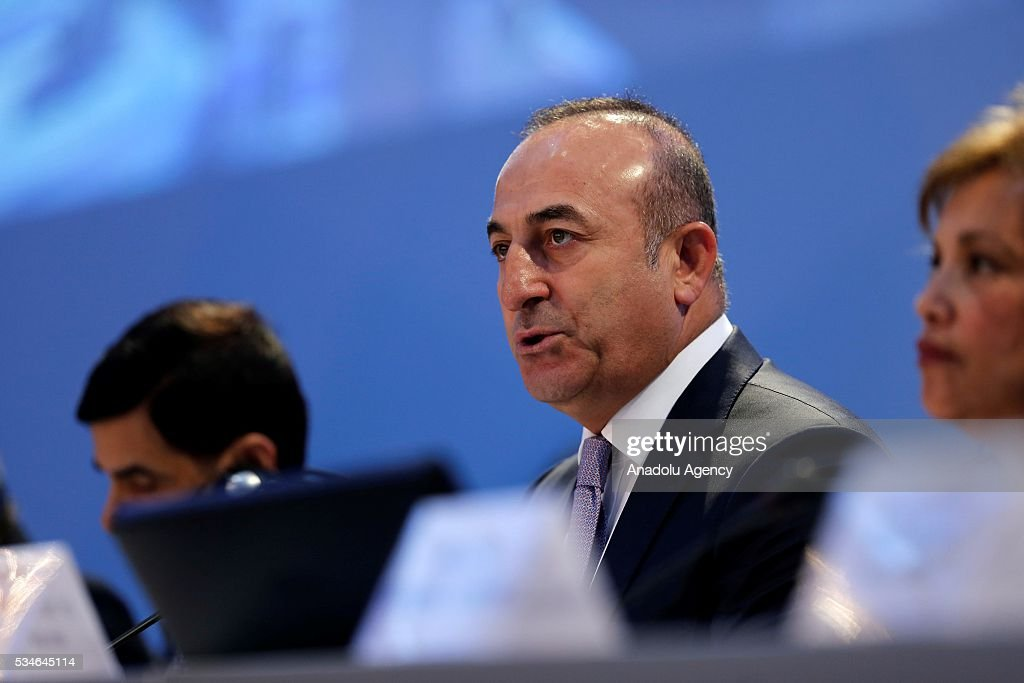 Minister of Foreign Affairs of Turkey, Mevlut Cavusoglu (C) gives opening speech during the Midterm Review of the Istanbul Programme of Action at Titanic Hotel in Antalya, Turkey on May 27, 2016. The Midterm Review conference for the Istanbul Programme of Action for the Least Developed Countries takes place in Antalya, Turkey from 27-29 May 2016. The conference will undertake a comprehensive review of the implementation of the Istanbul Programme of Action by the least developed countries (LDCs) and their development partners and likewise reaffirm the global commitment to address the special needs of the LDCs.