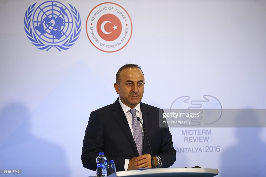 Minister of Foreign Affairs of Turkey, Mevlut Cavusoglu holds a press conference during the Midterm Review of the Istanbul Programme of Action in Antalya, Turkey on May 27, 2016. The Midterm Review conference for the Istanbul Programme of Action for the Least Developed Countries takes place in Antalya, Turkey from 27-29 May 2016. The conference will undertake a comprehensive review of the implementation of the Istanbul Programme of Action by the least developed countries (LDCs) and their development partners and likewise reaffirm the global commitment to address the special needs of the LDCs.