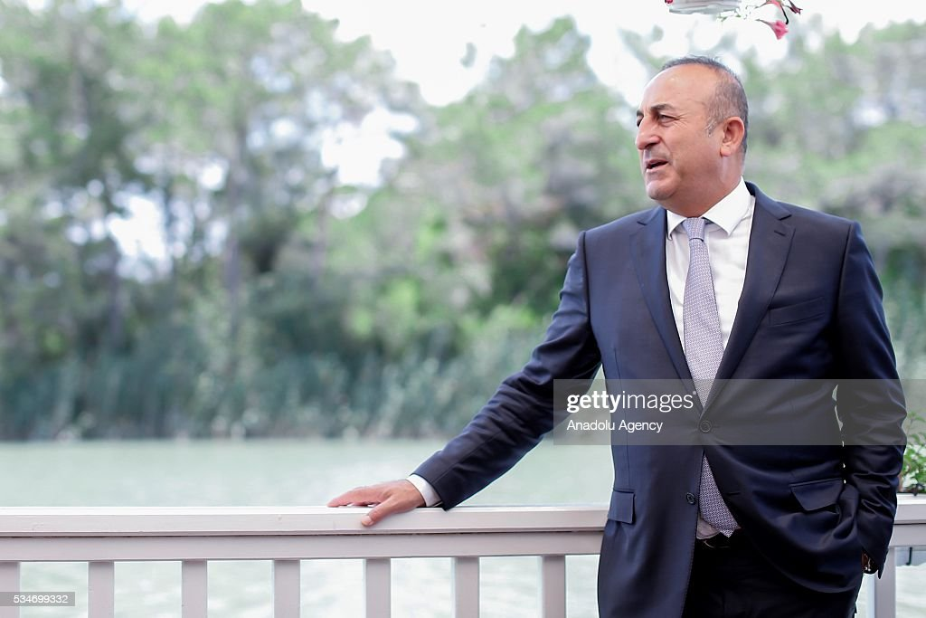 Minister of Foreign Affairs of Turkey, Mevlut Cavusoglu is seen at a restaurant for the lunch with representatives of the Midterm Review of the Istanbul Programme of Action in Antalya, Turkey on May 27, 2016. The Midterm Review conference for the Istanbul Programme of Action for the Least Developed Countries takes place in Antalya, Turkey from 27-29 May 2016. The conference will undertake a comprehensive review of the implementation of the Istanbul Programme of Action by the least developed countries (LDCs) and their development partners and likewise reaffirm the global commitment to address the special needs of the LDCs.