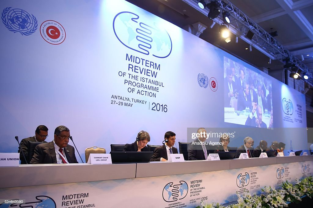 Minister of Foreign Affairs of Turkey, Mevlut Cavusoglu (4th L) makes an opening speech during the Midterm Review of the Istanbul Programme of Action at Titanic Hotel in Antalya, Turkey on May 27, 2016. The Midterm Review conference for the Istanbul Programme of Action for the Least Developed Countries takes place in Antalya, Turkey from 27-29 May 2016. The conference will undertake a comprehensive review of the implementation of the Istanbul Programme of Action by the least developed countries (LDCs) and their development partners and likewise reaffirm the global commitment to address the special needs of the LDCs.