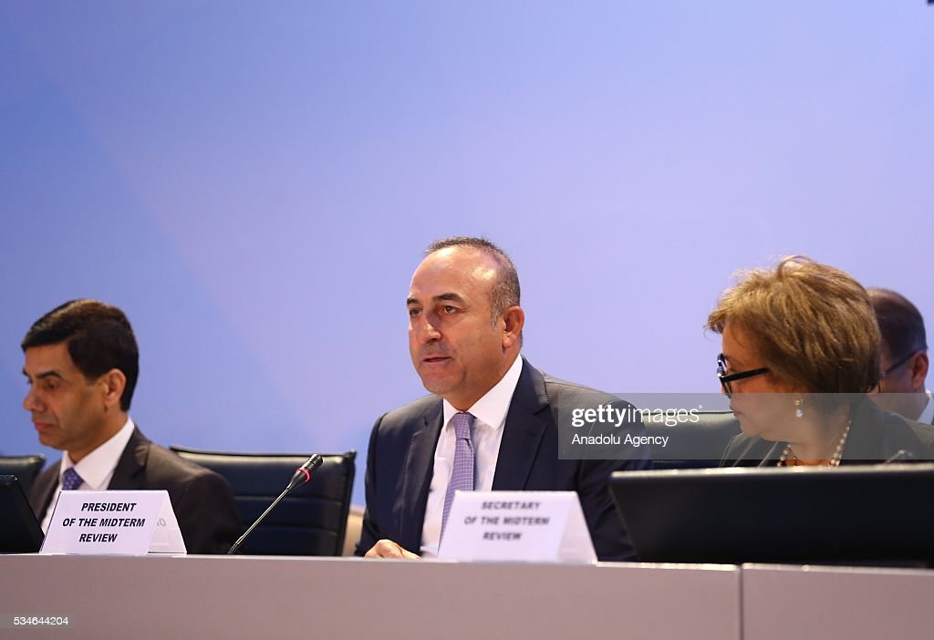 Minister of Foreign Affairs of Turkey, Mevlut Cavusoglu (C) makes an opening speech during the Midterm Review of the Istanbul Programme of Action at Titanic Hotel in Antalya, Turkey on May 27, 2016. The Midterm Review conference for the Istanbul Programme of Action for the Least Developed Countries takes place in Antalya, Turkey from 27-29 May 2016. The conference will undertake a comprehensive review of the implementation of the Istanbul Programme of Action by the least developed countries (LDCs) and their development partners and likewise reaffirm the global commitment to address the special needs of the LDCs.