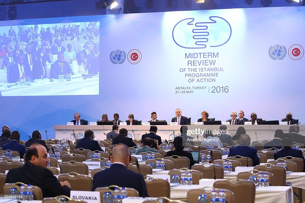 Minister of Foreign Affairs of Turkey, Mevlut Cavusoglu (6th L) makes an opening speech during the Midterm Review of the Istanbul Programme of Action at Titanic Hotel in Antalya, Turkey on May 27, 2016. The Midterm Review conference for the Istanbul Programme of Action for the Least Developed Countries takes place in Antalya, Turkey from 27-29 May 2016. The conference will undertake a comprehensive review of the implementation of the Istanbul Programme of Action by the least developed countries (LDCs) and their development partners and likewise reaffirm the global commitment to address the special needs of the LDCs.
