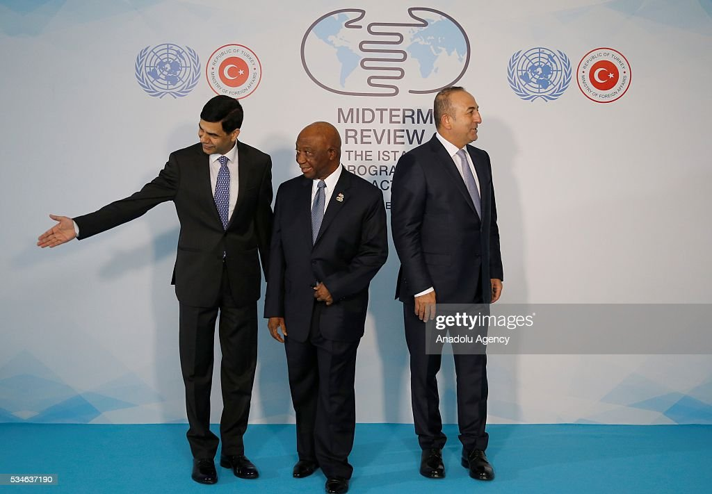Minister of Foreign Affairs of Turkey, Mevlut Cavusoglu (R), Vice President of Liberia Joseph Boakai (C) and Under-Secretary-General and High Representative for the LDCs Gyan Chandra Acharya (L) are seen during the Midterm Review of the Istanbul Programme of Action in Antalya, Turkey on May 27, 2016. The Midterm Review conference for the Istanbul Programme of Action for the Least Developed Countries takes place in Antalya, Turkey from 27-29 May 2016. The conference will undertake a comprehensive review of the implementation of the Istanbul Programme of Action by the least developed countries (LDCs) and their development partners and likewise reaffirm the global commitment to address the special needs of the LDCs.