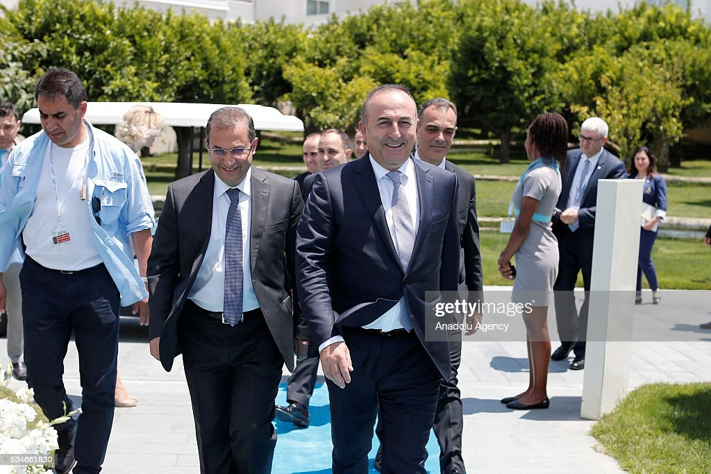 Minister of Foreign Affairs of Turkey, Mevlut Cavusoglu walks at the enterance of restaurant before the lunch with representatives of the Midterm Review of the Istanbul Programme of Action in Antalya, Turkey on May 27, 2016. The Midterm Review conference for the Istanbul Programme of Action for the Least Developed Countries takes place in Antalya, Turkey from 27-29 May 2016. The conference will undertake a comprehensive review of the implementation of the Istanbul Programme of Action by the least developed countries (LDCs) and their development partners and likewise reaffirm the global commitment to address the special needs of the LDCs.