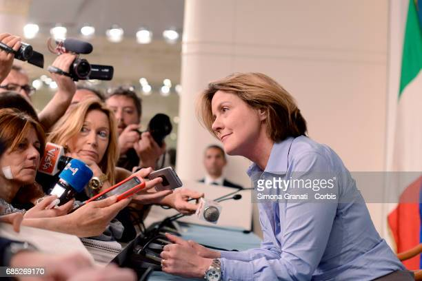 Minister of Health Beatrice Lorenzin during the press conference at Palazzo Chigi on May 19 2017 in Rome Italy The cabinet meeting approved policy on...