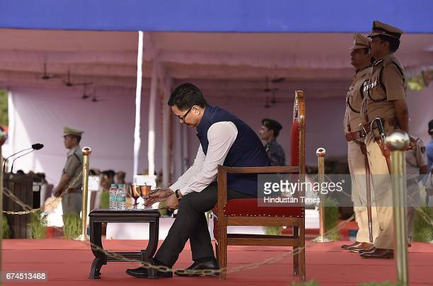 Minister of Home Affairs Kiren Rijiju along with Delhi police commissioner Amullya Patnaik during the march pass parade by northeast newly recruit...