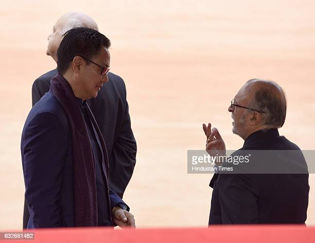 Minister of Home Affairs kiren rijiju talking with Lieutenant Governor of Delhi Anil Baijal during the ceremonial reception of General Sheikh...