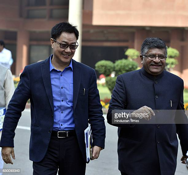 Minister of Home Affairs of India Kiren Rijiju with Minister of Law and Justice Ravi Shankar Prasad during the Parliament Winter Session at...