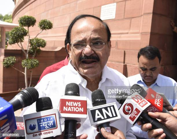 Minister of Housing and Urban Poverty Alleviation and Information and Broadcasting Venkaiah Naidu talking to media persons after attending the...