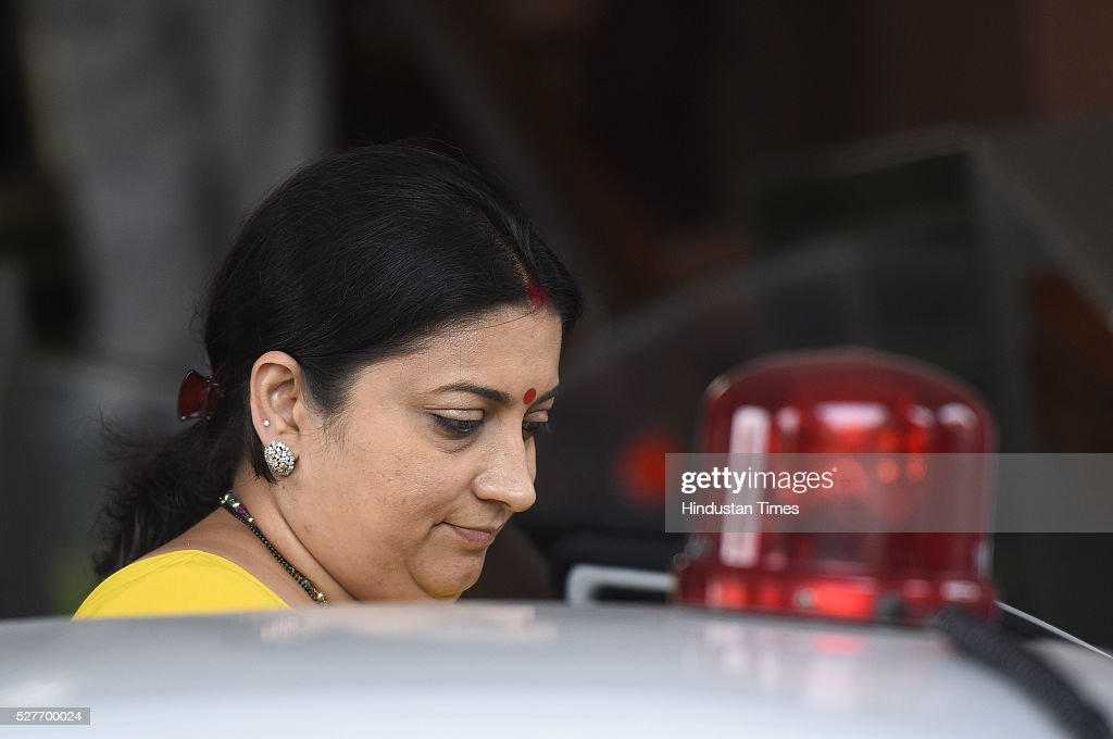 Minister of Human Resource Development Smriti Irani leave after attending parliament Session on May 3, 2016 in New Delhi, India. With the BJP mounting an offensive against Congress vice-president on the AgustaWestland VVIP chopper bribery case, Rahul Gandhi on Wednesday said he is happy to be targeted.