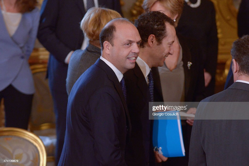Minister of Interior Angelino Alfano arrives to attend the swearing in ceremony of the new government at Quirinale Palace on February 22 2014 in Rome...