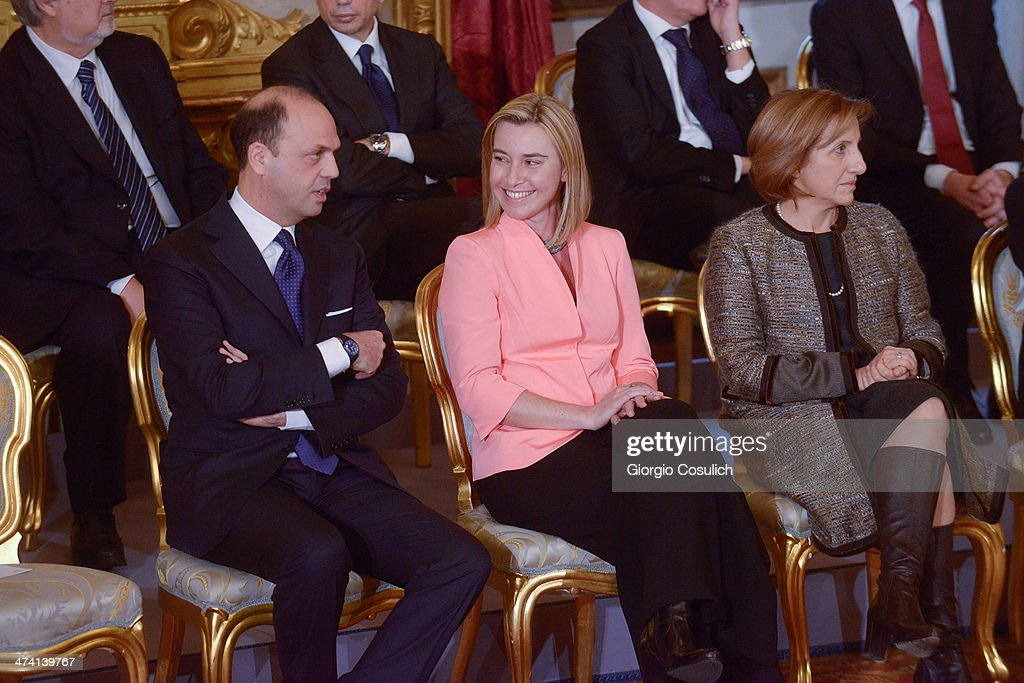 Minister of Interior Angelino Alfano Minister of Foreign Affairs Federica Mogherini and Minister of Regional Affairs Maria Carmela Lanzetta attend...