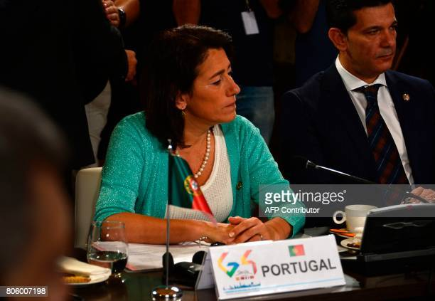 Minister of Interior of Portugal Constança Urbano de Sousa looks on as she attends a meeting the 'Archivo General de Indias' in Seville on July 3...