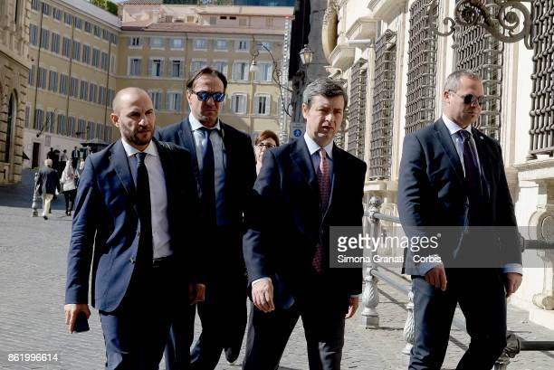 Minister of Justice Andrea Orlando enters Palazzo Chigi on October 16 2017 in Rome Italy