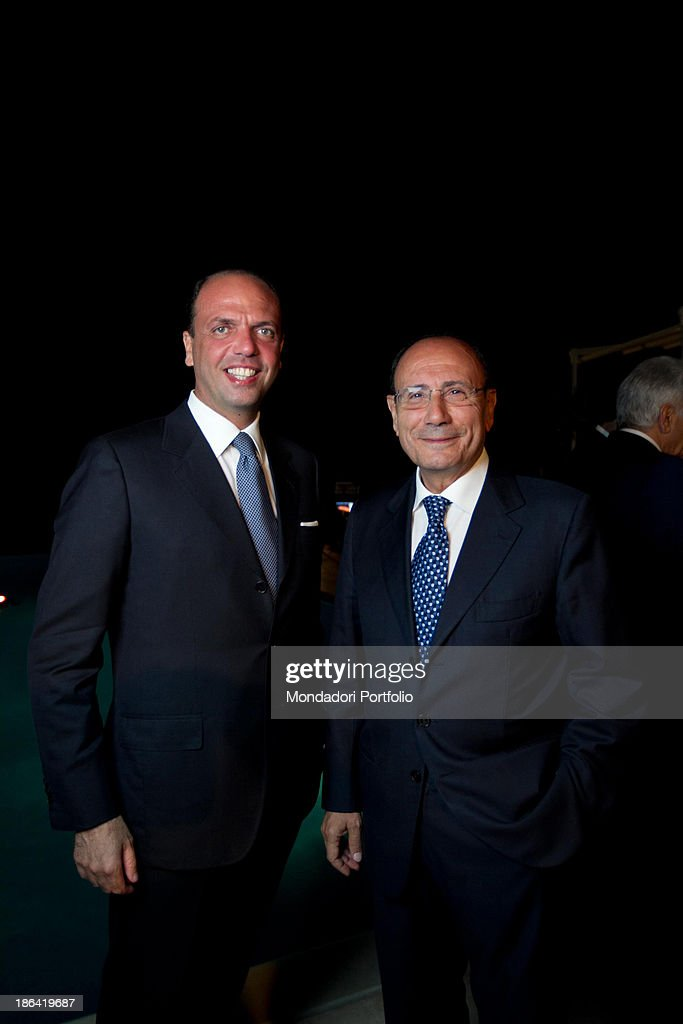 Minister of Justice of the Italian Republic <a gi-track='captionPersonalityLinkClicked' href=/galleries/search?phrase=Angelino+Alfano&family=editorial&specificpeople=5101299 ng-click='$event.stopPropagation()'>Angelino Alfano</a> and President of the Senate of the Italian Republic <a gi-track='captionPersonalityLinkClicked' href=/galleries/search?phrase=Renato+Schifani&family=editorial&specificpeople=4851265 ng-click='$event.stopPropagation()'>Renato Schifani</a> posing smiling at the wedding of Minister of Public Administration and Innovation Renato Brunetta with Italian architect Titti Giovannoni (Tommasa Giovannoni). Ravello, 10th July 2011.