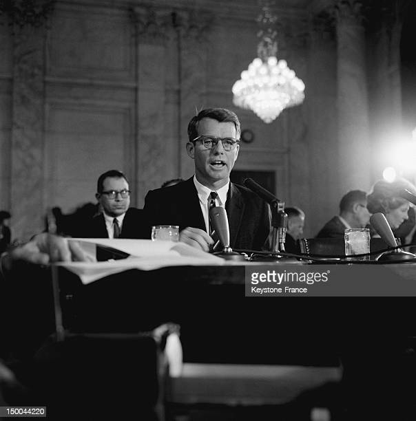 Minister of Justice Robert Kennedy hearing by Senate commission about the organized crime and the Cosa Nostra in United States and Canada in...