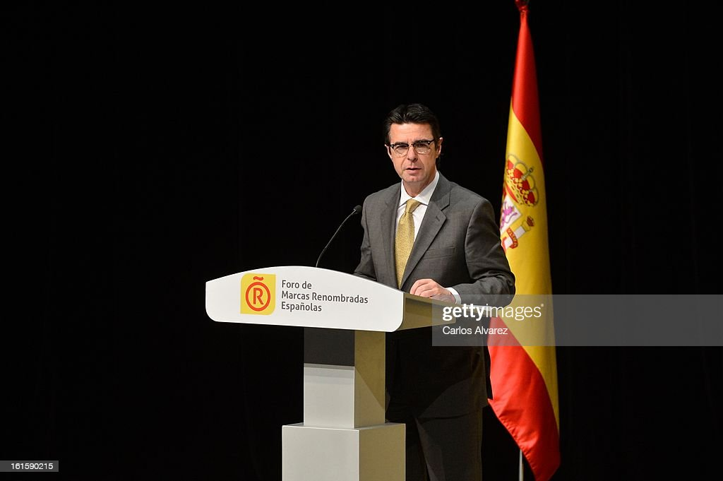 Minister of Minister of Industry, Energy and Tourism Jose Manuel Soria delivers a speech during the acreditations ceremony for honorary Spain 'Brand Ambassadors' at the Ciudad Financiera del Banco Santander on February 12, 2013 in Madrid, Spain.