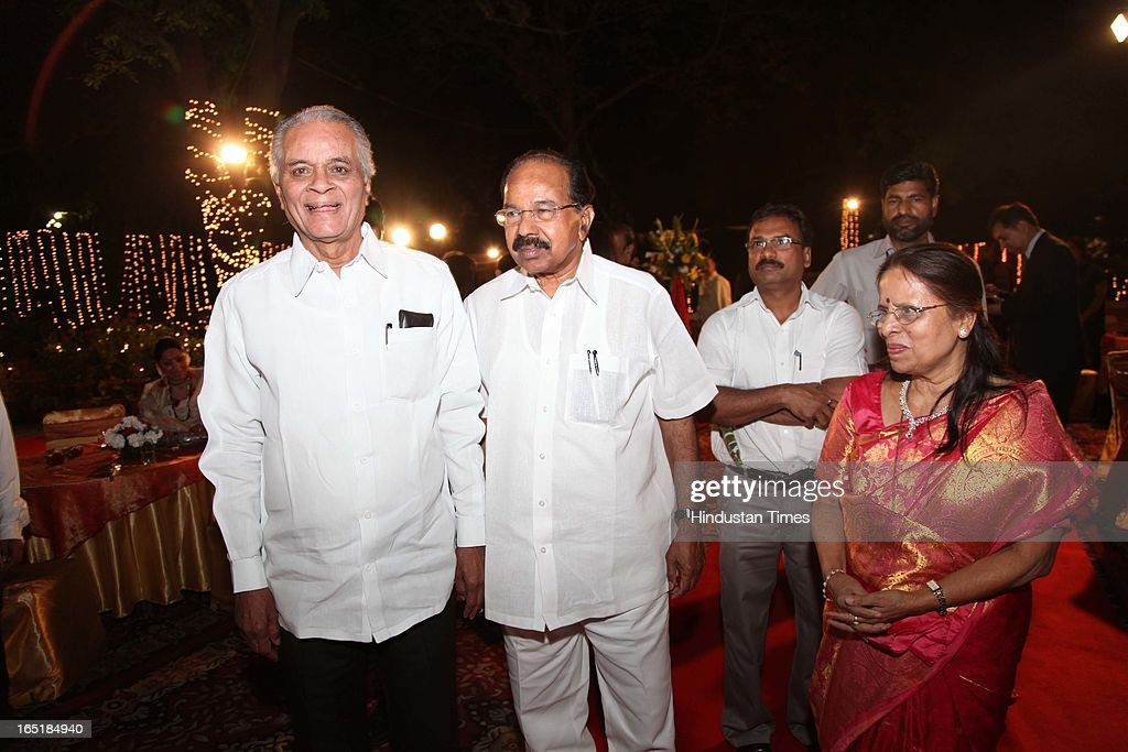 Minister of Petroleum and Natural Gas Veerappa Moily with proud grandparents SB Mujumdar and Sanjivani at the wedding reception of Ameya Yeravdekar and Swati Thorat at Delhi Gymkhana on March 22, 2013 in New Delhi, India.