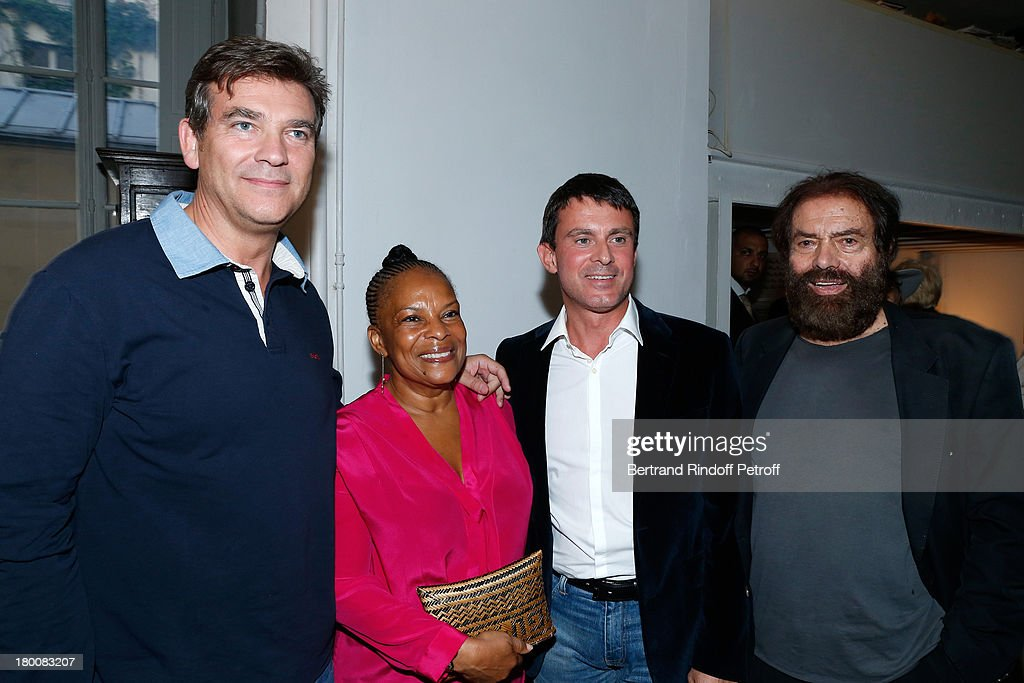 Minister of Productive Recovery <a gi-track='captionPersonalityLinkClicked' href=/galleries/search?phrase=Arnaud+Montebourg&family=editorial&specificpeople=588268 ng-click='$event.stopPropagation()'>Arnaud Montebourg</a>, Minister of Justice <a gi-track='captionPersonalityLinkClicked' href=/galleries/search?phrase=Christiane+Taubira&family=editorial&specificpeople=3798541 ng-click='$event.stopPropagation()'>Christiane Taubira</a>, Minister of the Interior <a gi-track='captionPersonalityLinkClicked' href=/galleries/search?phrase=Manuel+Valls&family=editorial&specificpeople=2178864 ng-click='$event.stopPropagation()'>Manuel Valls</a> and Marek Halter attend Marek Halter's Rosh Hashanah celebration for the 5774 Jewish new year at his home on September 8, 2013 in Paris, France.