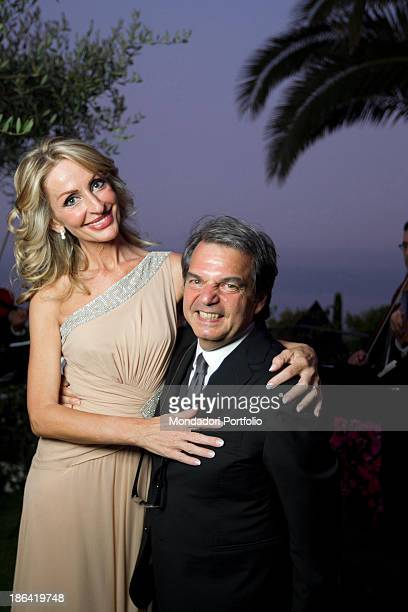 Minister of Public Administration and Innovation Renato Brunetta hugging Italian architect Titti Giovannoni in the day of their wedding Ravello 10th...