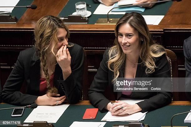 Minister of Public Administration and Simplification Marianna Madia and Undersecretary of Italian Government Maria Elena Boschi talk as Italian Prime...