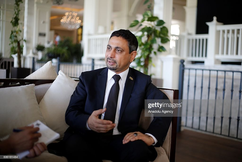 Minister of Public Works and Highways of Yemen Wahy Taha Abdullah Aman makes a statement to the media during the Midterm Review of the Istanbul Programme of Action at Titanic Hotel in Antalya, Turkey on May 29, 2016. The Midterm Review conference for the Istanbul Programme of Action for the Least Developed Countries takes place in Antalya, Turkey from 27-29 May 2016.