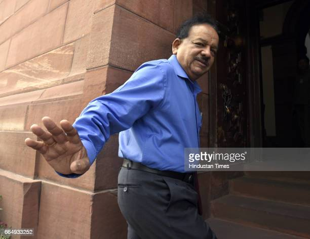 Minister of Science and Technology and Ministry of Earth Sciences Harsh Vardhan arrives for attending the Parliament Budget Session on April 5 2017...