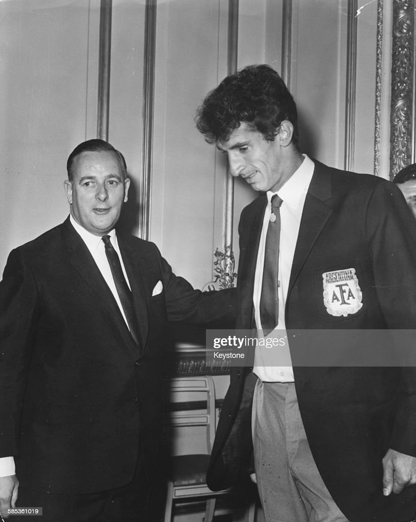 Minister of Sport Denis Howell greeting Antonio Rattin captain of Argentina's football team at a reception following the teams elimination from the...