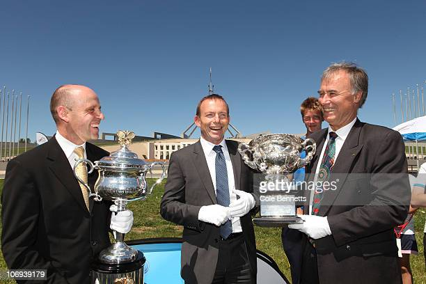 Minister of Sport Mark Arbib Leader of the Opposition Tony Abbott and former professional tennis player John Alexander pose outside Parliament House...