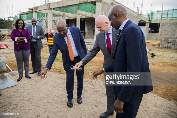 Minister of Sports and Culture Lt Col Patrice Rugambwa FIFA President Gianni Infantino and Rwandese Association Football Federation President Vincent...