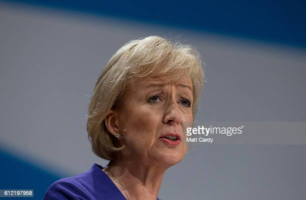 Minister of State at the Department of Energy and Climate Change Andrea Leadsom speaks on the second day of the Conservative Party Conference 2016 at...