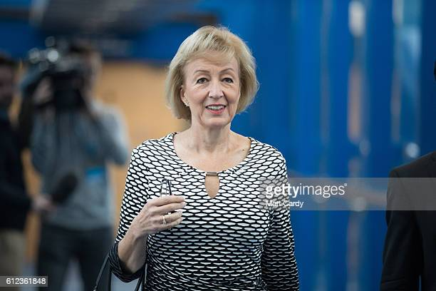 Minister of State at the Department of Energy and Climate Change Andrea Leadsom arrives on the third day of the Conservative Party Conference 2016 at...